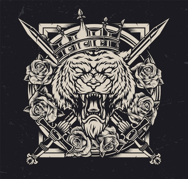Re arrabbiato della tigre nel concetto autentico della corona