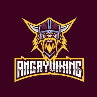 Modello di logo esport viking arrabbiato