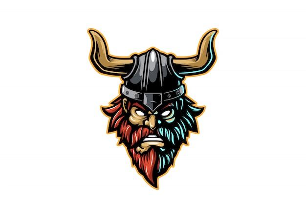 Angry viking head warrior