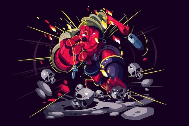 Guerriero arrabbiato nell'illustrazione di azione