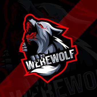 Modello di esport logo mascotte lupo mannaro arrabbiato