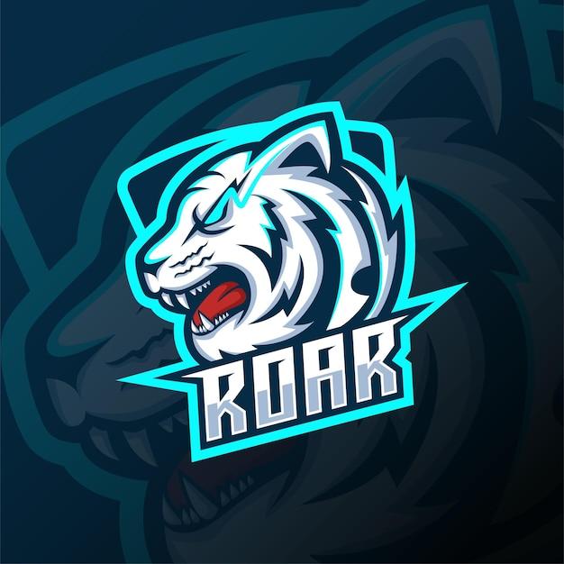 Progettazione di logo di esportazione della mascotte della testa di tigre bianca arrabbiata. disegno del logo della testa di tigre vista laterale