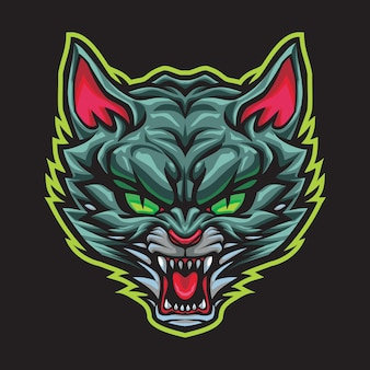 Illustrazione di logo di esport gatto selvatico arrabbiato