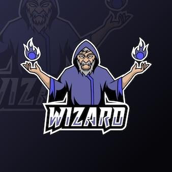 Angry wizard sport esport logo modello uniforme nera nel bagliore blu
