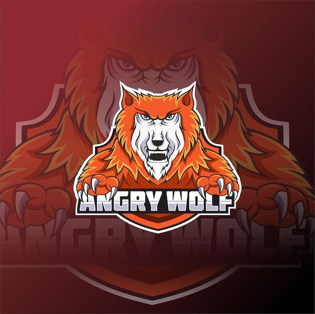 Modello di logo della squadra di e-sport lupo arrabbiato