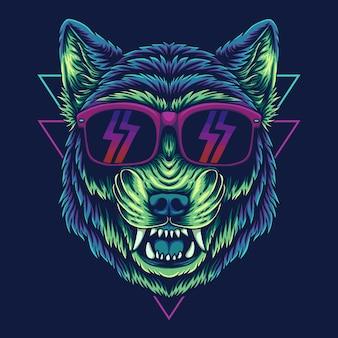 Illustrazione vettoriale di occhiali lupo arrabbiato