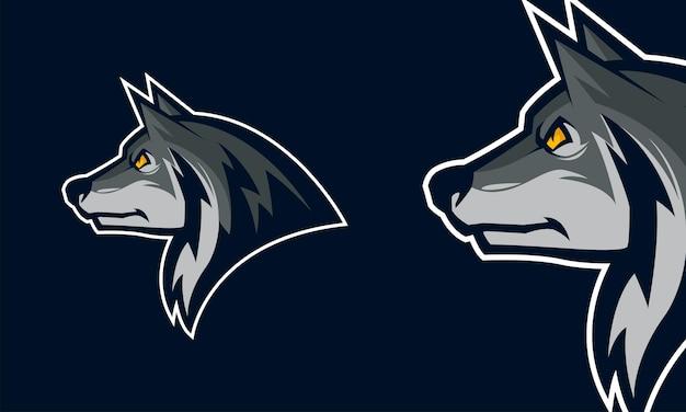 Illustrazione di mascotte di vettore di logo premium testa di lupo arrabbiato