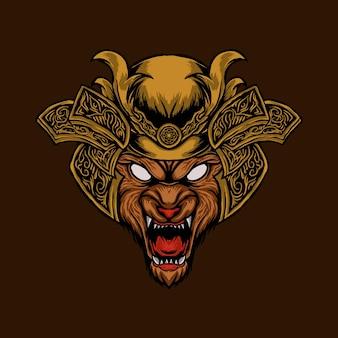 La testa di lupo arrabbiato con la testa corazzata