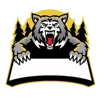 La mascotte del lupo arrabbiato tiene la bandiera del testo in bianco