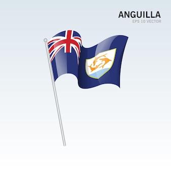 Anguilla sventolando bandiera isolata su gray