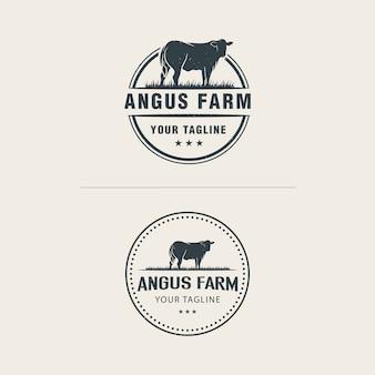 Modello di logo di fattoria angus