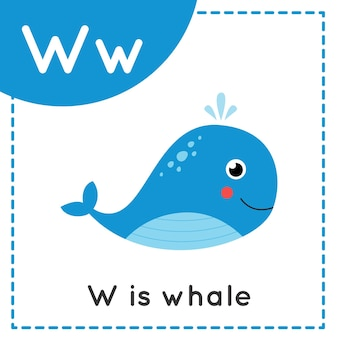 Flashcard alfabeto animale per bambini. la lettera di apprendimento w. w è per la balena.