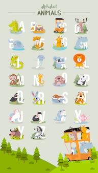 Alfabeto animale grafico dalla a alla z. alfabeto zoo vettoriale carino con animali in stile cartone animato.