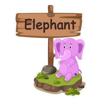 Alfabeto animale lettera e per elefante