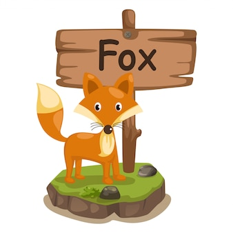 Alfabeto animale lettera f per volpe