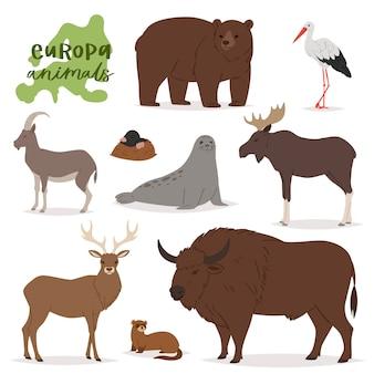 Carattere animalesco animale negli alci dei cervi dell'orso della foresta dell'insieme dell'illustrazione della fauna selvatica dell'europa della capra di montagna predatore europea isolata su fondo bianco