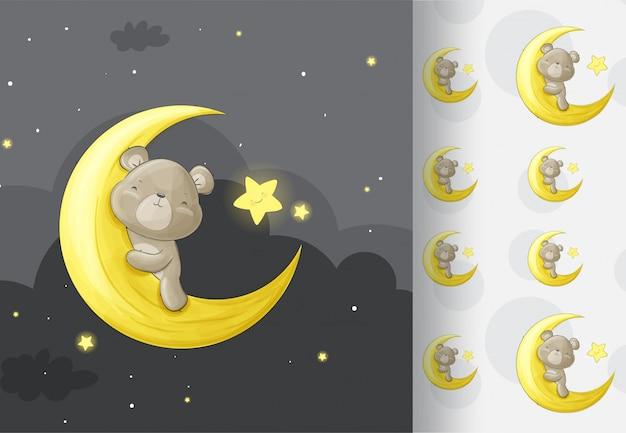 Orso animale nella notte di luna