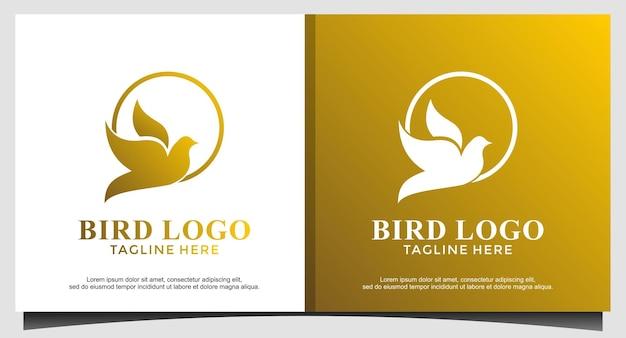Vettore di disegno del logo della mosca dell'uccello animale