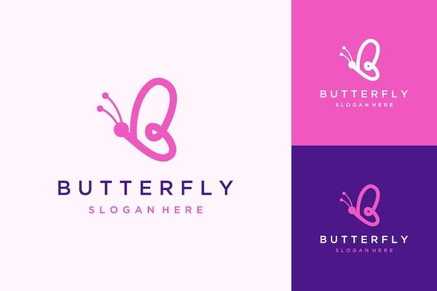 Design del logo animale o farfalla con line art
