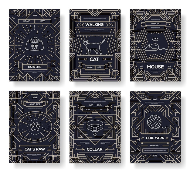 Set di linee sottili di carte animali. modello di simpatici animali domestici di volantino, riviste, poster, libri, banner.