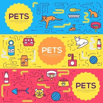 Illustrazione stabilita della linea sottile delle carte degli animali Vettore Premium