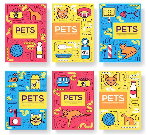 Illustrazione stabilita della linea sottile delle carte degli animali