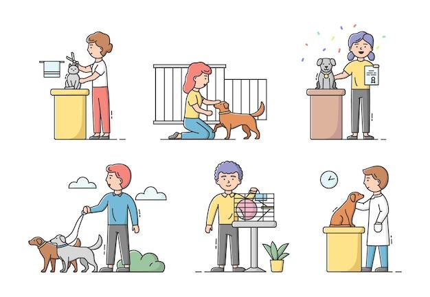 Concetto di cura degli animali. i personaggi maschili e femminili si prendono cura e si prendono cura degli animali domestici. la gente cammina, fa lo sposo, visita mostre, tratta cani e gatti. Vettore Premium