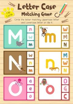 Carte di clip di animali che corrispondono al gioco del caso di lettere