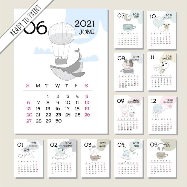 Insieme di modelli di calendario 2021 animale carino