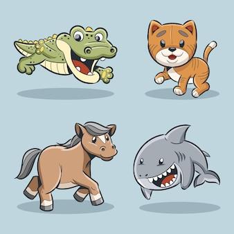 Animale carino coccodrillo gatto cavallo e collezione di squali