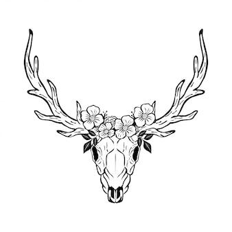 Testa di teschio di cervo animale con disegno floreale