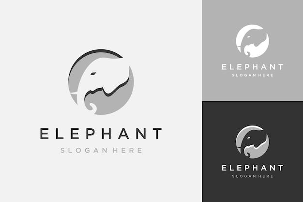 Logo di design animale o testa di elefante con un cerchio
