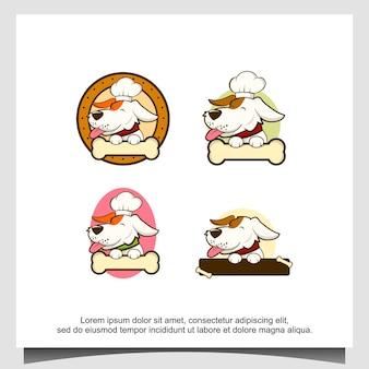 Cane animale con l'illustrazione del design del logo dell'osso