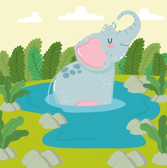 Fumetto del fogliame dell'acqua dell'elefante animale