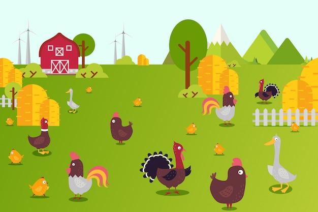 Illustrazione della raccolta della fattoria degli animali. galline, anatre, tacchini e pulcini in cortile. allevamento di uccelli in campagna