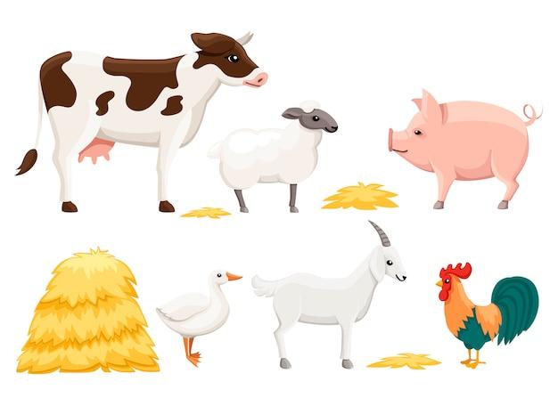 Fattoria degli animali con pila di fieno. raccolta di animali domestici. animale del fumetto. illustrazione su sfondo bianco