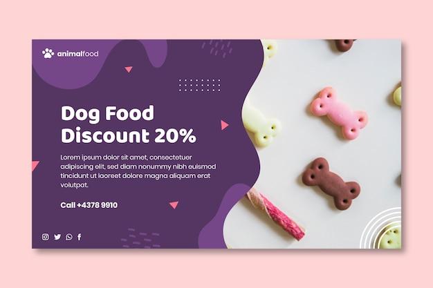 Modello di banner di cibo animale con foto