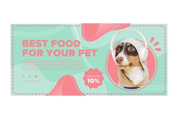 Modello di banner orizzontale di cibo animale