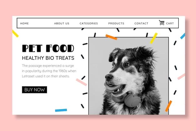 Modello di pagina di destinazione per alimenti per animali con foto