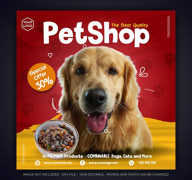 Modello di post instagram di promozione di cibo per animali