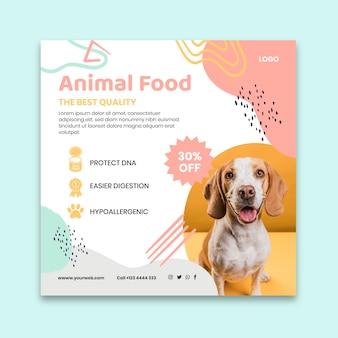 Modello di volantino quadrato cibo animale