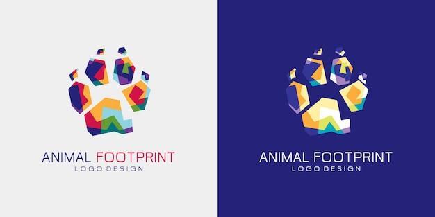Logo di animal foot print. stampa del piede coloritamente animale.