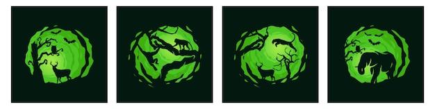 Pacchetto di modelli di notte di foresta animale