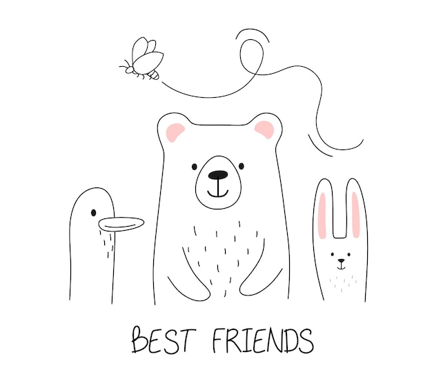 Amici animali con la parola migliori amici nella linea di stile doodle