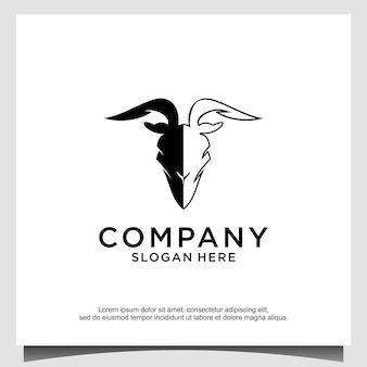 Testa di animale - capra - mascotte dell'illustrazione dell'icona del logo di vettore