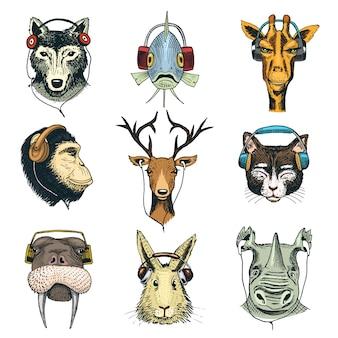 Testa di animale in cuffie carattere animalesco in auricolari o cuffia ascoltando musica illustrazione set di cartoon wild dj in copricapo o auricolari isolati