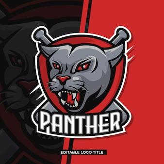Carattere del logo della pantera testa di animale