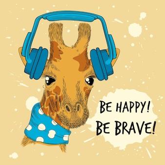 Animale in cuffia. cuffie per animali da compagnia disegnate a mano divertenti con cartello in stile pop fashion. illustrazione auricolare e giraffa divertente, simpatico cartone animato