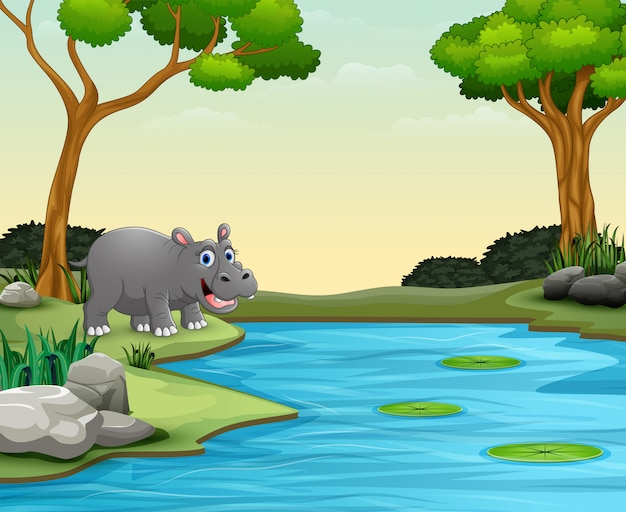 Il fumetto animale dell'ippopotamo vuole nuotare in un lago