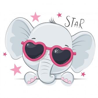Illustrazione animale con elefante ragazza carina con gli occhiali.
